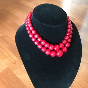 Vintage Double Tiered Red Beaded Necklace